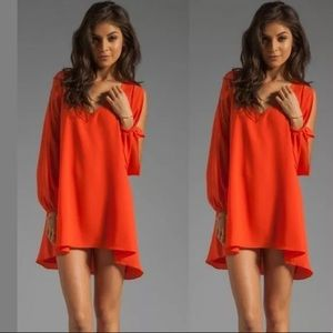 Lovers + friends coral Gracie open Sleeve dress